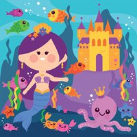 Underwater mermaid, castle and sea animals
