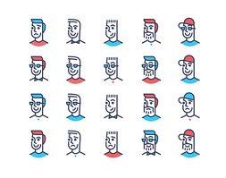 Line art design men icon set