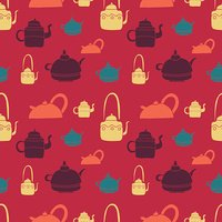 tea kettle pattern red