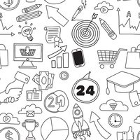 Doodle vector seamless pattern with business elements