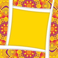 The square frame with elements of the mandala in yellow.