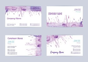 Set of watercolor business cards