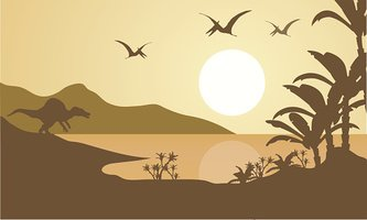 Silhouette of pterodactyl and spinosaurus