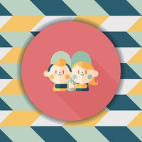 Valentine's day couple flat icon with long shadow,eps10
