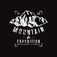Mountain expedition label with shabby texture