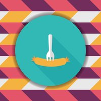 sausage flat icon with long shadow,eps10