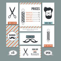 Barber shop vintage business cards and services prices set.