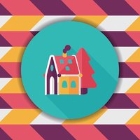 Christmas house flat icon with long shadow,eps10