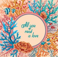 Corals and fish. Greeting card.