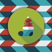 Christmas tree flat icon with long shadow, eps10