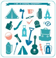 Silhouette of camping equipment.
