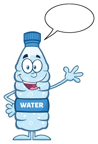 Water Bottle Waving A Greeting With Speech Bubble