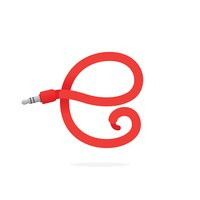 E letter icon formed by jack cable.