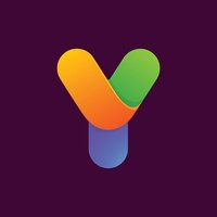 Y letter one line colorful icon.