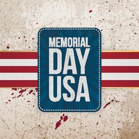 Memorial Day Usa festive Sign with Ribbon