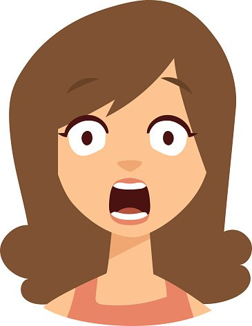Women scary face vector illustration