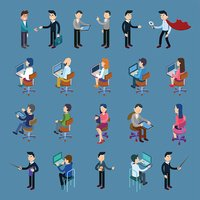 Isometric Office Workers. Business People Set. Isometric Business People