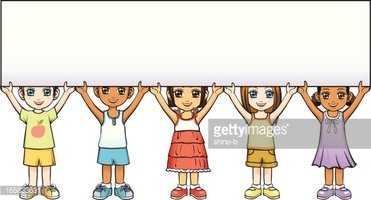 Children Holding A Banner Clipart Images