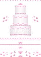 Wedding Cake Design Set with Pink Hearts