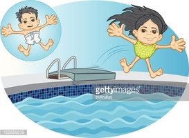 Asian Kids Jumping into Swimming Pool