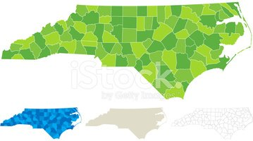 North Carolina,Map,counties...