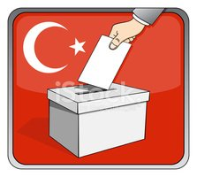 Turkish elections - ballot box and national flag