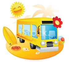 Bus,Beach,Travel,Cartoon,Sy...