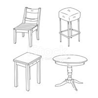 Chair,Table,Furniture,Sketc...