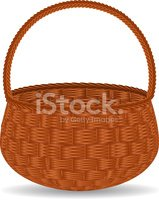 Basket,Wicker,Wood - Materi...