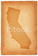 California state map on old paper Background