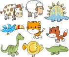 Dinosaur,Tiger,Sheep,Cute,A...