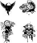 Dragon,Tattoo,Human Skull,C...