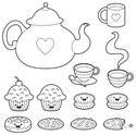 Teapot,Tea Cup,Cookie,Cupca...