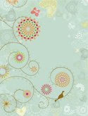 Bird,Flower,Retro Revival,T...