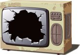 Television Set,Broken,Hole,...