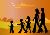 Family,Walking,Silhouette,C...