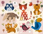 Owl,Fox,Zoo,Animal,Ilustra...