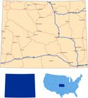Wyoming,Map,Highway,Outline...
