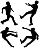Silhouette,Jumping,Young Ad...