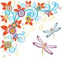 Dragonfly,Floral Pattern,Sp...