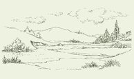 Sketch,Mountain,Lake,Tree,S...