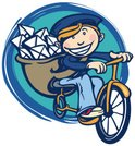 Postal Worker,Bicycle,Carto...