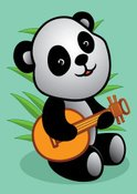 Panda,Music,Cartoon,Cute,Be...