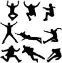 Silhouette,Jumping,Action,P...