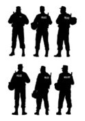 Police Force,Silhouette,Arm...