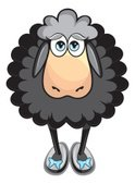 Sheep,Black Color,Cartoon,A...