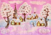 Village,Winter,Watercolor P...