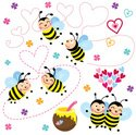 Bee,Honey,Cute,Heart Shape,...