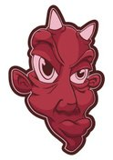 Red,Human Head,Horned,Isola...