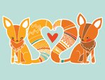 Fox,Love,Valentine Card,Hea...